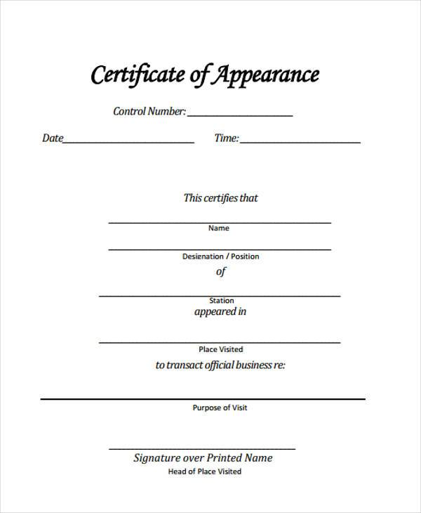 Easy Certificate Of Appearance Template